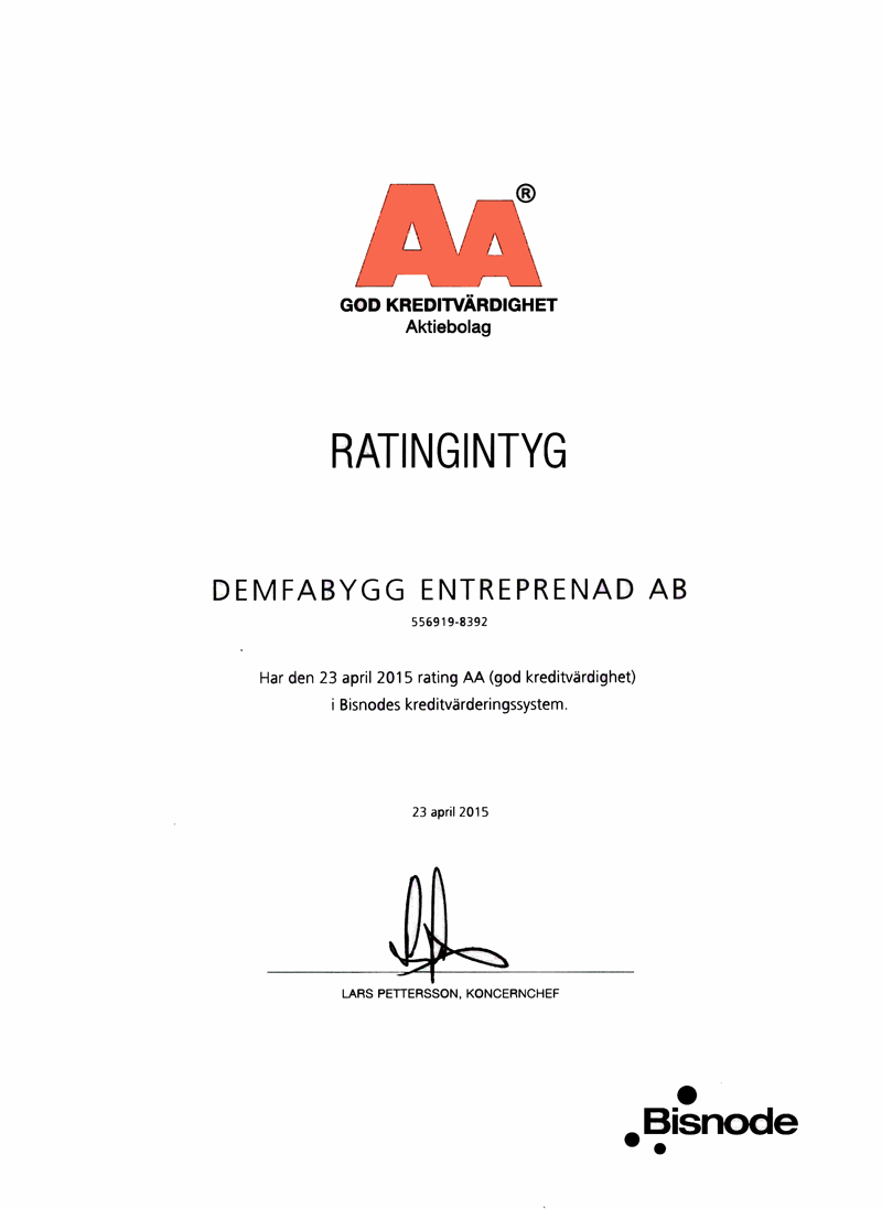 RATINGINTYG AA DEMFABYGG